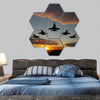 Five bombers over orange sunset hexagonal canvas wall art