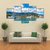 Scenic summer panorama of Black Sea pier and port harbor Multi panel canvas wall art