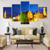 Night view of Bruges town World Heritage Site Multi panel canvas wall art