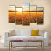 Sunset over wheat field Multi panel canvas wall art