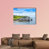 Etretat Aval cliff, rocks and natural arch landmark and Blue Ocean wall art