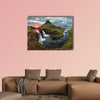 Iceland Landscape spring panorama at sunset, kirkjufell multi panel canvas wall art