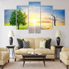 Effect of global warming on a nature Multi Panel Canvas Wall Art