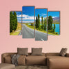 Mountain landscape with lake and road, New Zealand multi panel canvas wall art