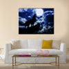 Moon red wolf Multi Panel Canvas Wall Art