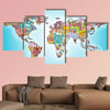 World map from pills multi panel canvas wall art