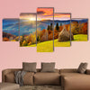 The mountain autumn landscape with colorful forest multi panel canvas wall art