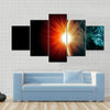 Planet Earth with appearing sunbeam light Multi Panel Canvas Wall Art