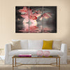 Orchids with a butterfly on the coloured background Multi Panel Canvas Wall Art