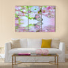 Pink flower of an Oriental cherry in and butterfly Multi Panel Canvas Wall Art