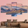 Colorful winter landscape in mountains Sunrise multi panel canvas wall art