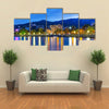Scenic summer evening panorama of Black Sea pier and port harbor in Ukraine Multi panel canvas wall art