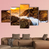 Landscape sunset sea waves line impact rock on the beach multi panel canvas wall art