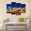 modern city highway overpass at night  multi panel canvas wall art