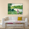 Watercolor Landscape Collection Near the River Multi Panel Canvas Wall Art