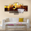 Cup of hot tea on background lanscape summer autumn Multi Panel Canvas Wall Art