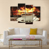 Hot coffee near fireplace Multi Panel Canvas Wall Art