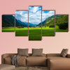 Little village in the mountains, travel to Austria, summer holiday in Europe Multi panel canvas wall art
