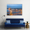 Budapest, night view of Chain Bridge on the Danube River and the city of Pest Multi Panel Canvas Wall Art