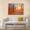 Colorful and foggy autumn forest Multi panel canvas wall art