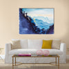 Chinese landscape. Mountains abd forest watercolor Multi Panel Canvas Wall Art