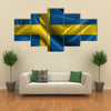 Realistic Wavy Flag Of Sweden Multi Panel Canvas Wall Art