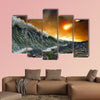Apocalyptic dramatic background asteroid impact, end of world multi panel canvas wall art