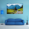 Group of motorbikes in the mountains, race highway multi panel canvas wall art
