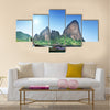 Beautiful view boats on Railay beach in Krabi Thailand Multi Panel Canvas Wall Art