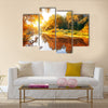 River in a delightful autumn forest at sunny day Multi panel canvas wall art