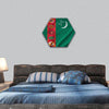 Turkmenistan Flag hexagonal canvas wall art
