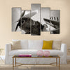 World War II era Navy fighter plane with folded wings Multi Panel Canvas Wall Art