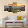 Meteora Roussanou Monastery at sunset, Greece Multi Panel Canvas Wall Art
