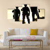 Silhouettes of S W A T officers holding their guns Multi Panel Canvas Wall Art