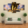 Most Beautiful View of Anak Krakatau erupting - fantasy illustration multi panel canvas wall art