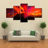 Anak Krakatau erupting - fantasy illustration multi panel canvas wall art