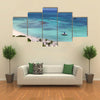 Palm beach on Aruba island Multi panel canvas wall art