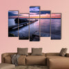 A beautiful autumn sunrise on the pebbled shores of Lake Cayuga multi panel canvas wall art