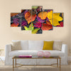 Abstract background of autumn leaves Multi panel canvas wall art