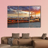 Istanbul at a dramatic sunset with sun multi panel canvas wall art