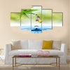Butterfly with green leaf and water drop Multi Panel Canvas Wall Art