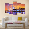 London, England the UK skyline in the evening. Ilumination  Multi panel canvas wall art