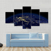 The view of a earth night side from space light Multi Panel Canvas Wall Art