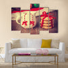 Cookies, earrings and christmas gifts at background Multi Panel Canvas Wall Art