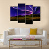 Northern light on the silent field before sun rise Multi panel canvas wall art