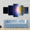 North America sunset from space Multi Panel Canvas Wall Art