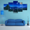 The mountain view From Green Meadow On Summer Night Multi Panel Canvas Wall Art