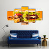 Delicious hamburgers on wood Multi panel canvas wall art
