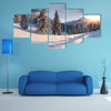 A Beautiful Winter Sunrise With Snow Covered Trees Multi Panel Canvas Wall Art
