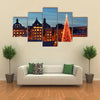 Stockholm's old city with Christmas tree Multi Panel Canvas Wall Art